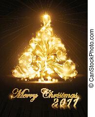 dourado, árvore, faíscas, 2011, cartão natal, brilho