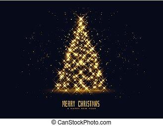 dourado, árvore, natal, fundo, faíscas