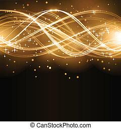 dourado, abstratos, onda, estrelas, padrão