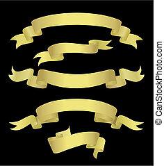 dourado, bandeiras, (vector)