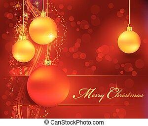 dourado, baubles, bokeh, fundo, natal, vermelho