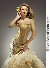 dourado, beleza, elegante, posar, loiro, vestido