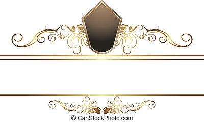 dourado, borda, vindima, elemento