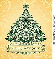 dourado, cartão cumprimento, natal