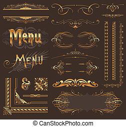 dourado, decoração, elementos, &, desenho, ornate, página