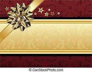 dourado, desenho, vermelho