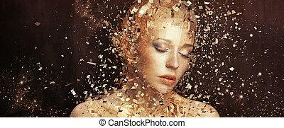 dourado, elementos, arte, splintering, foto, mulher, milhares