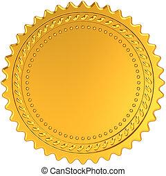 dourado, em branco, medalha, distinção, selo