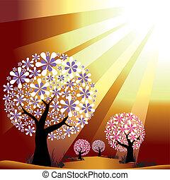 dourado, estouro, luz, abstratos, árvores, fundo