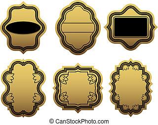 dourado, etiquetas, jogo