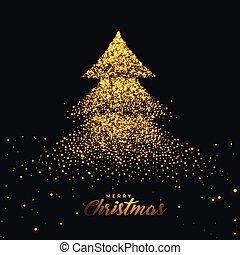 dourado, feito, árvore, natal, faíscas