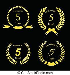 dourado, fita, aniversário, ilustração, etiqueta, vetorial, cinco, anos