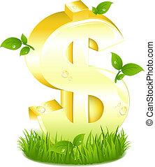 dourado, folhas, sinal dólar, grama verde
