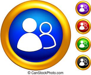 dourado, fronteiras, ícone, botões, grupo