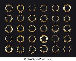 dourado, grinalda, trigo, ouro, heráldica, laurels, folhas, vencedor, carvalho, distinção, foliate, vetorial, experiência preta, azeitona, laurel, wreaths., adesivo