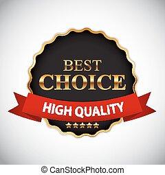 dourado, ilustração, escolha, vetorial, fita, etiqueta, melhor