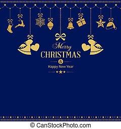 dourado, jogo, ornamentos, penduradas, anjos, natal