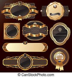 dourado, jogo, vetorial, luxo, ornate, bordas