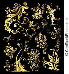 dourado, jogo, vindima, ornamento, decoração, elementos, floral