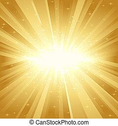 dourado, luz, estrelas, estouro