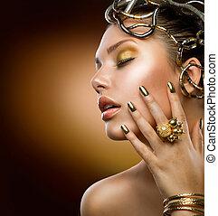 dourado, menina, moda, makeup., retrato
