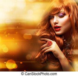 dourado, moda, cabelo, ondulado, portrait., menina, vermelho