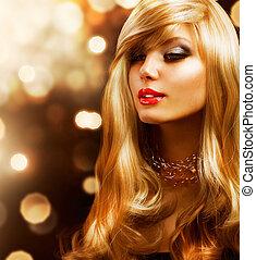 dourado, moda, fundo, girl., loura, hair., loiro