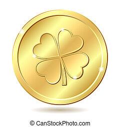 dourado, moeda, clover.