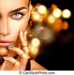 dourado, mulher, beleza, pregos, maquilagem, acessórios, moda