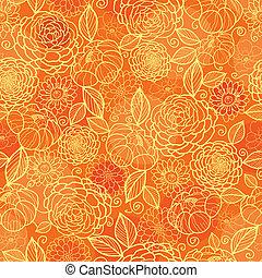 dourado, padrão, seamless, textura, fundo alaranjado, floral