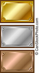 dourado, placas, prata, bronze