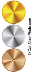 dourado, prata, bronze