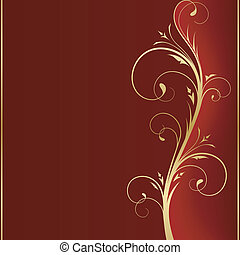 dourado, quadrado, scrolls, espaço, mão, escuro, message., direita, fundo, seu, vermelho, lado