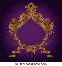 dourado, quadro, lilás