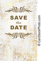 dourado, salvar, cartão postal, vindima, convite, grunge, patina, fundo, casório, data, envelhecido, mármore