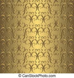 dourado, seamless, padrão