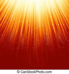 dourado, snowflakes, light., eps, descendendo, 8