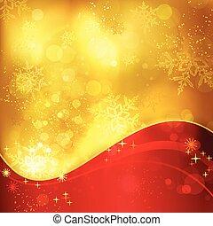 dourado, snowflakes, luz, efeitos, fundo, natal, vermelho