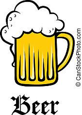 dourado, tankard, vidro, espumoso, cerveja, quartilho