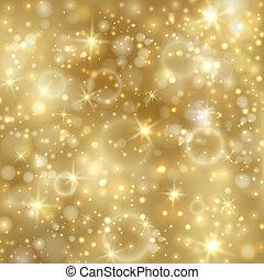 dourado, twinkly, estrelas, fundo, luzes