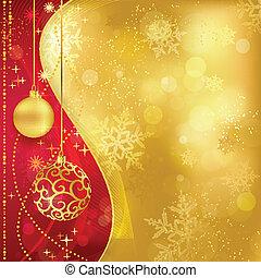 dourado, vermelho, baubles, fundo, natal