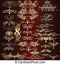 dourado, vetorial, cobrança, decorat