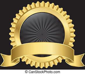dourado, vetorial, etiqueta, fita
