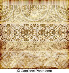 dourado, vetorial, papel, fronteiras, floral, textura, amarrotado, seamless, folha