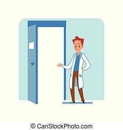 doutor, caucasiano, porta, macho, ou, veterinário, plataformas, clínica, veterinário, hospitalar, ruivo