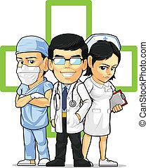 doutor, cirurgião, enfermeira, &
