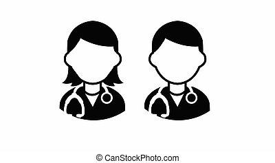 doutor, femininas, macho, ícone, jogo