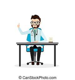 doutor, local trabalho, feliz, macho, isolado, caucasiano, fundo, branca
