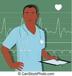 doutor, macho, enfermeira, ou