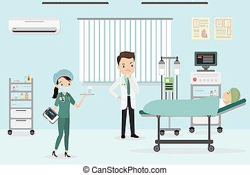 doutor, macho, femininas, caucasiano, médico, sala, enfermeira